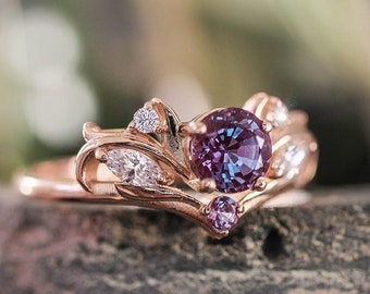 Alexandrite engagement ring, nature inspired engagement ring, lab alexandrite ring, moissanite ring, rose gold ring for women, art nouveau