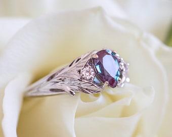 Alexandrite engagement ring, white gold leaf ring, diamond branch ring, leaves ring, colour change, nature ring, alexandrite diamond ring