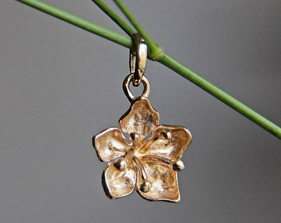 Apple blossom pendant, yellow gold pendant, gold flower pendant, romantic pendant, flower pendat