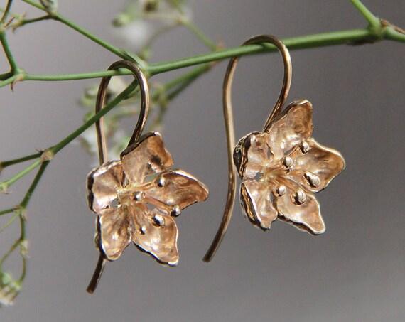 Apple blossom earrings, flower earrings, gold flower earrings, romantic earrings, unique earrings, floral earrings