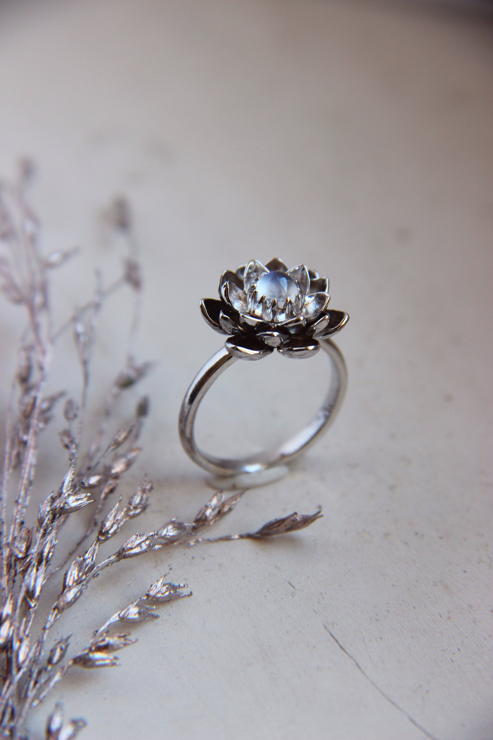 Moonstone Engagement Ring White Gold Ring Lotus Ring Moonstone