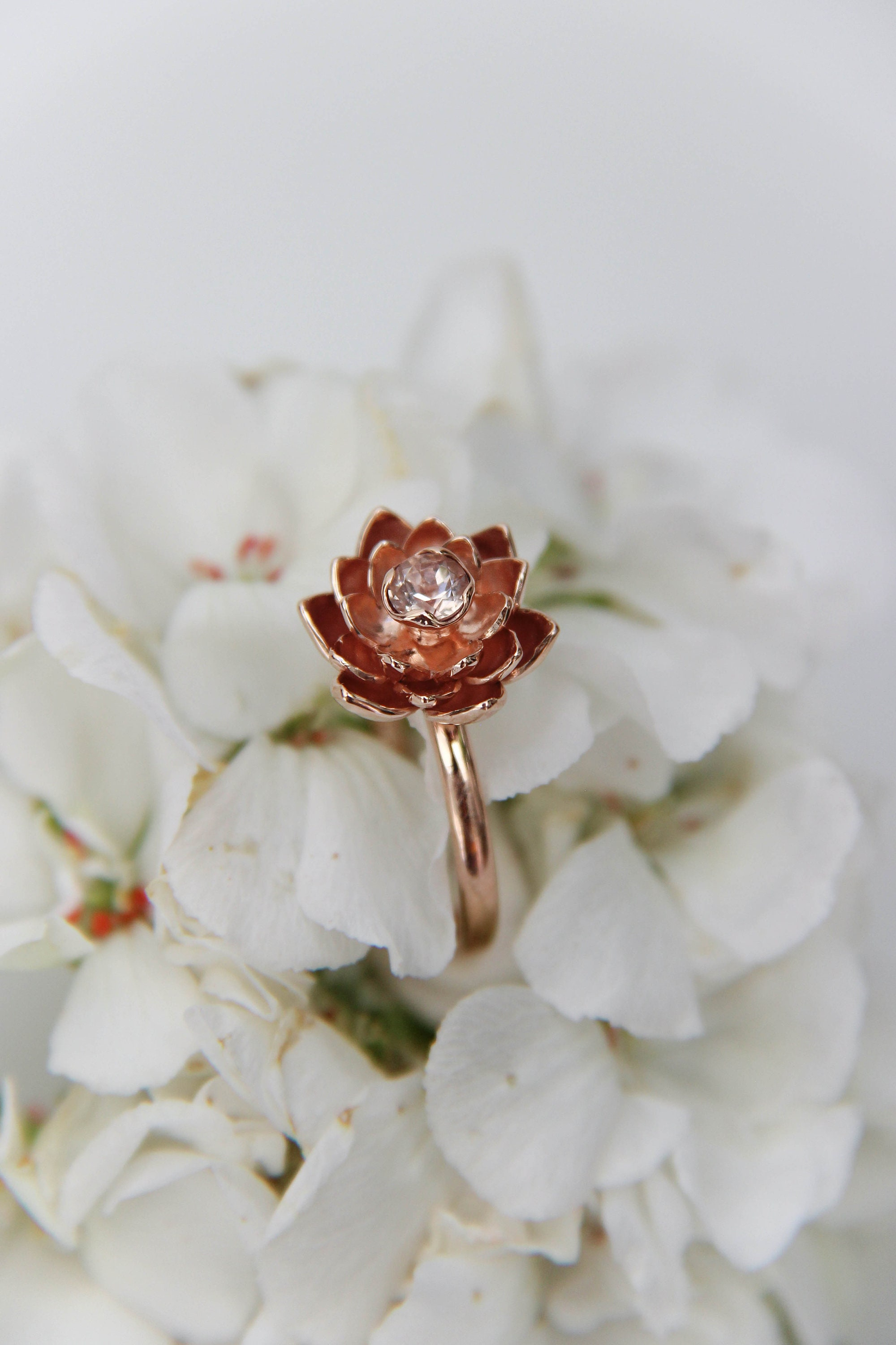 Rose Gold Engagement Ring With Lotus Flower And Morganite Unique