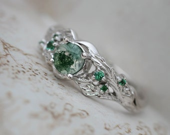 Moss agate & emeralds ring, 14K gold, nature ring, leaf engagement ring, branch ring, leaves ring, maple ring, moss agate engagement ring