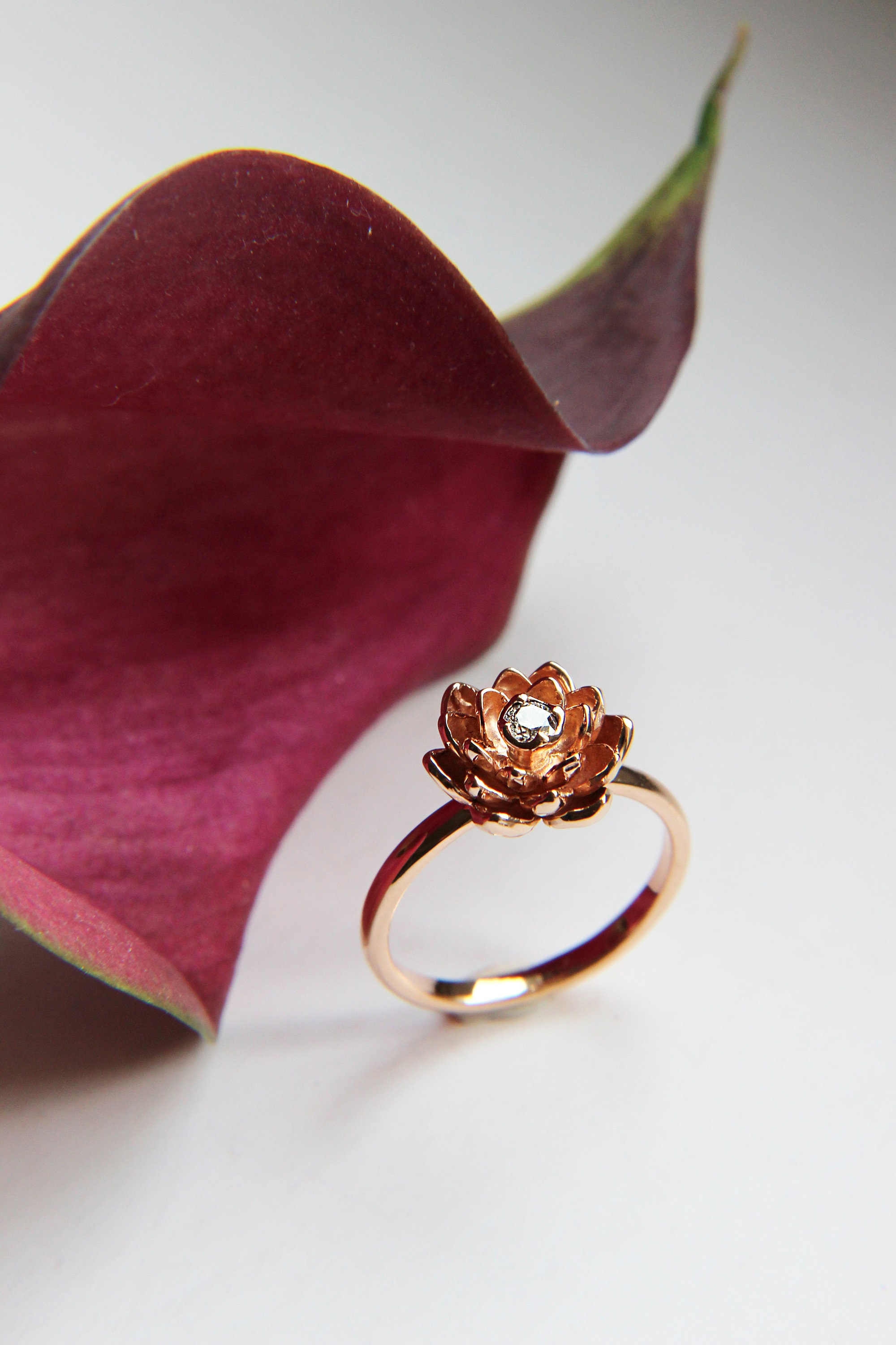 Gold flower ring for engagement diamond rose gold ring unique gold flower ring for engagement diamond rose gold ring unique proposal ring lotus delicate ring 14k gold ring floral golden jewelry izmirmasajfo