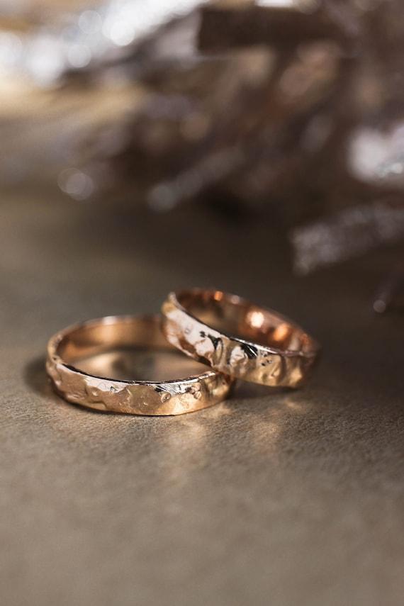 Strukturierte Ehering Set Grobe Hochzeit Ring Rose Gold Etsy