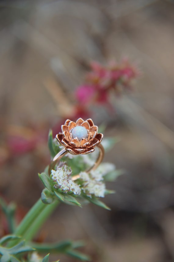 Rose gold flower engagement ring, australian white opal ring, delicate proposal ring, lotus jewelry, unique ring for woman, nature gold ring
