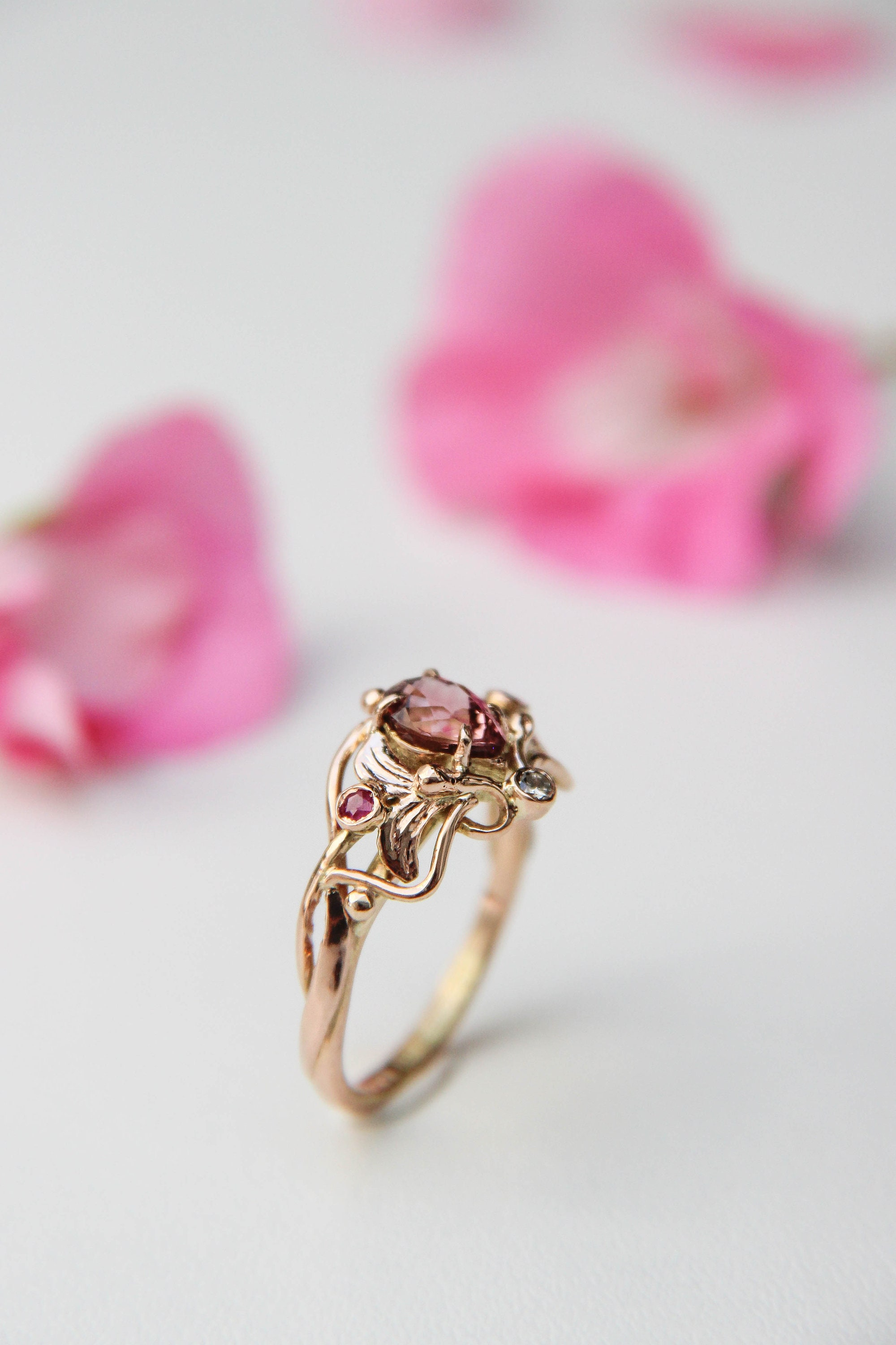 Vintage inspired art nouveau engagement ring with pink tourmaline ...