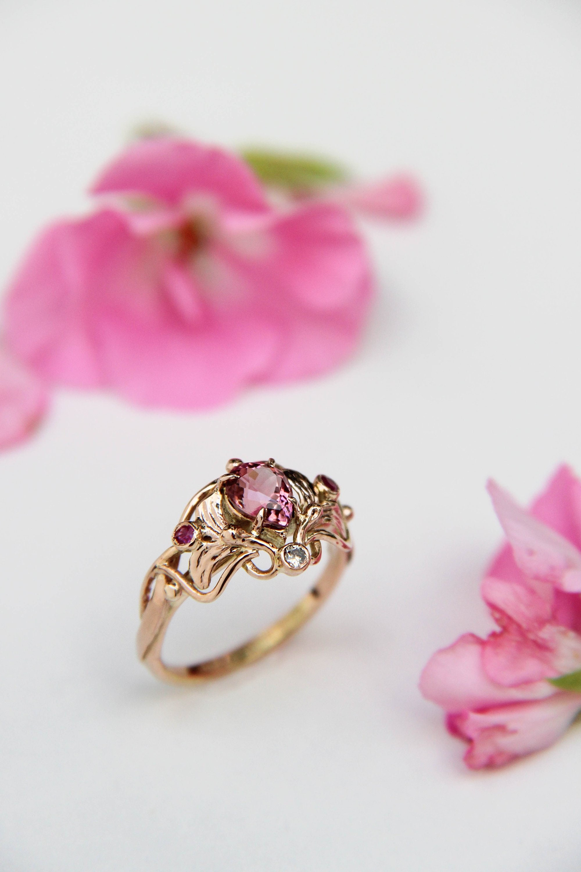 Custom engagement ring in art nouveau style with pink tourmaline ...