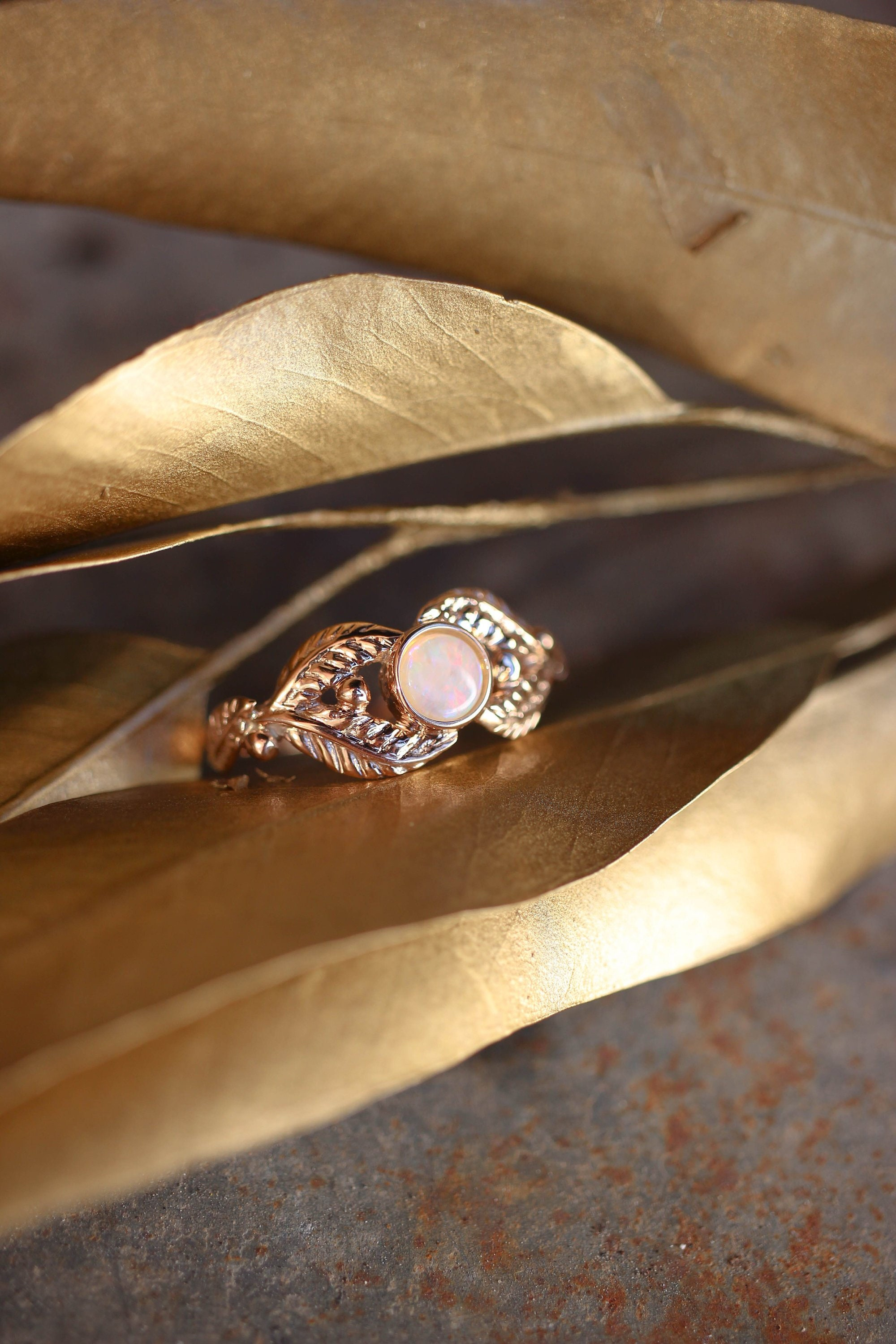 Opal and leaves engagement ring 1ec0f8ac6