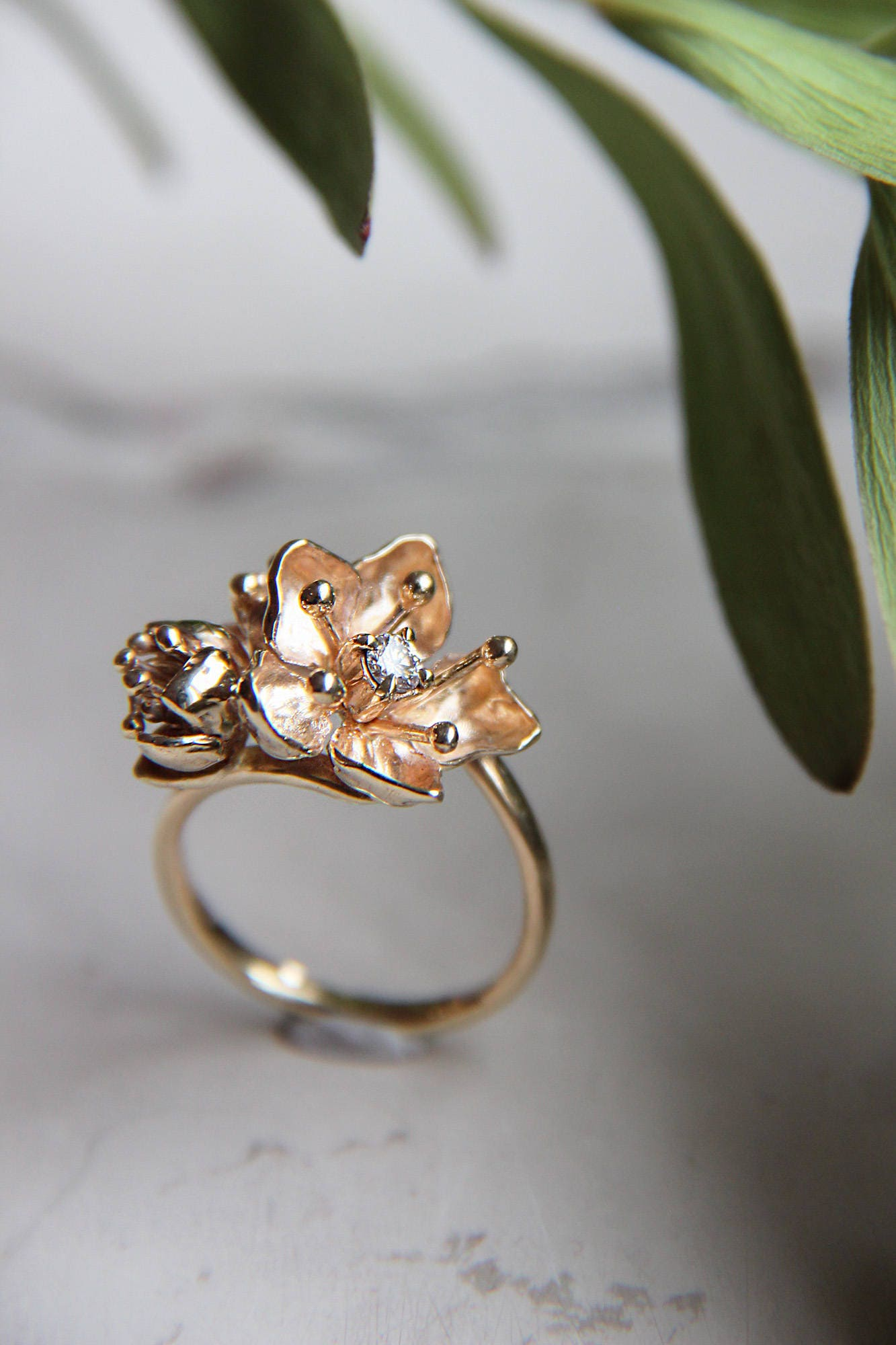 Unique engagement ring diamond ring gold flower ring yellow gold unique engagement ring diamond ring gold flower ring yellow gold ring flower engagement ring proposal ring romantic cherry blossom mightylinksfo