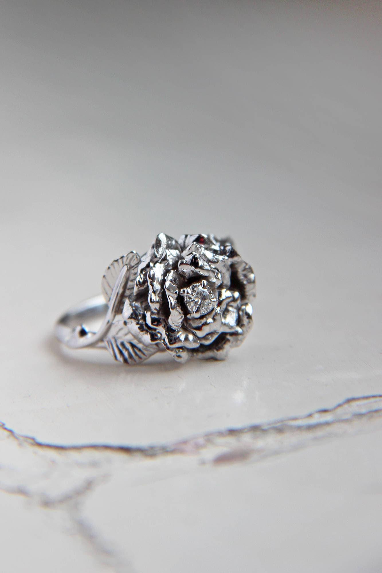 Rose Flower Ring Unique Diamond Ring White Gold Ring Engagement