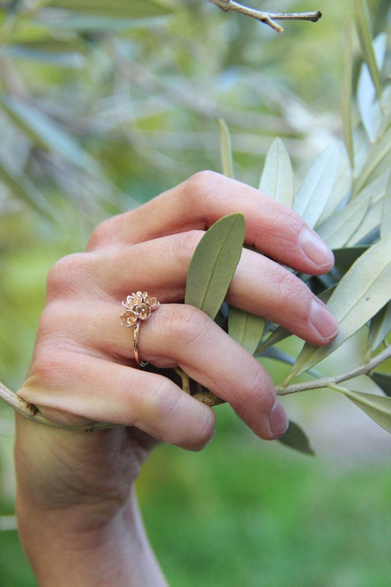 Rose gold flower ring, nature engagement ring, lily of the valley jewelry, gold ring for woman, gift for girlfriend, unique proposal ring
