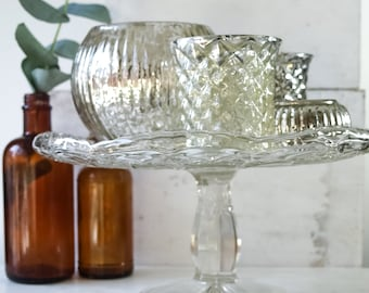 Vintage Glass Cake Stand Cupcake Plate with Tall Pedestal Cut Glass Wedding Cake Plate