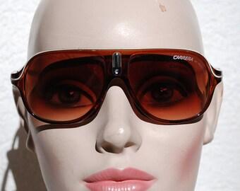 Sunglasses Carrera Brown with white Ralleystreifen-70s vintage Original