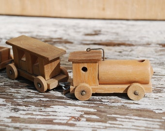 Wooden Railroad 50 years-1 wagon damaged-here as Wabi Sabi Object offered