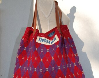 Bag Upcycling object by Riessaykel from a wool sweater with diamonds-unique!