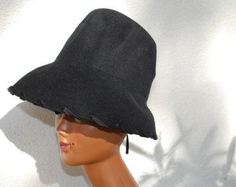 Hat Wool felt black 80s