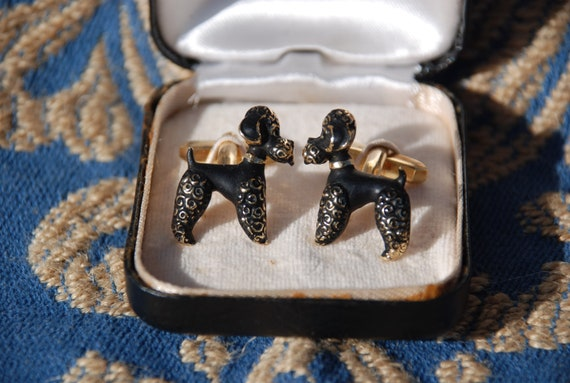 Cufflinks for him and him black poodle