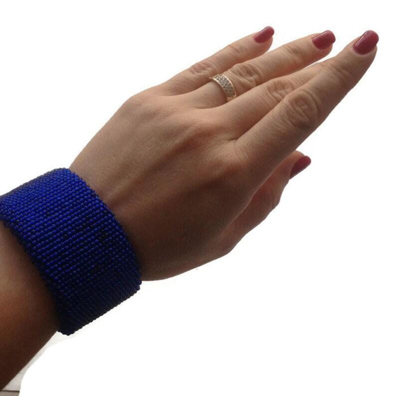 Set royal blue earrings and bracelet for women Big flat seed bead bracelet Shining blue earrings Cute Christmas gift for wife