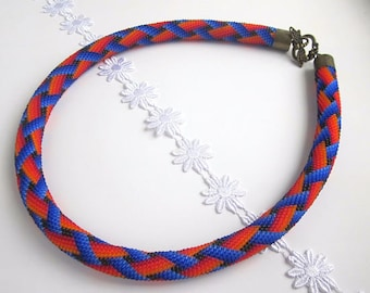Necklace in The Style of South Africa Gift for African-Americans, Necklace of Blue and Red, Minimalist African necklace, Kenyan Necklace