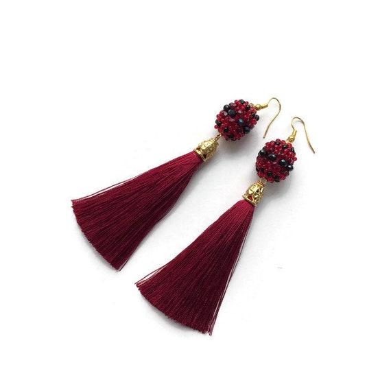 """18/"""" Classic Vintage Short Tassel Purple Pink Handmade Seed Bead Necklace"""