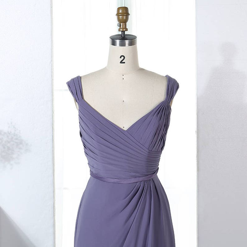 V-Neck Sleeveless Strapped V-neck Pleated Chiffon Long Bridesmaid Dress with Button Back Detail