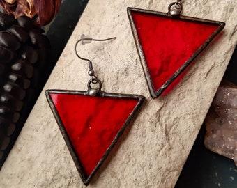 Boho Style Casual Earrings Stained glass Red Triangle Earrings with hypoallergenic Earring Hooks Festival juwelry Simple Jewelry