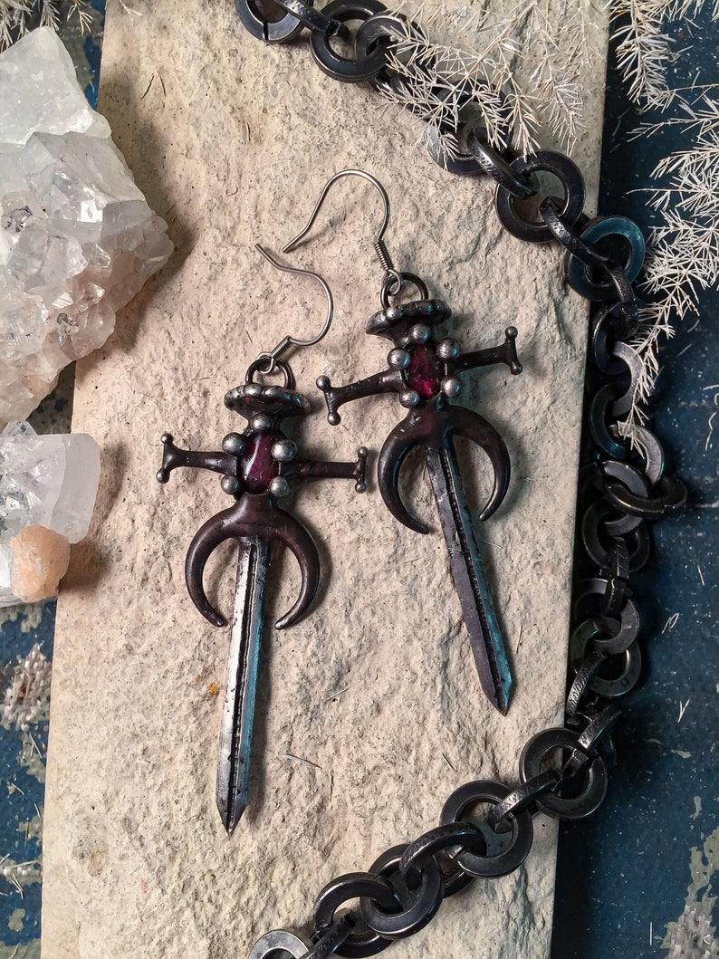 Lunar Hilt Sword Necklace Dagger Earrings Dagger Drop Earrings Knight Sword Pendant and Earrings