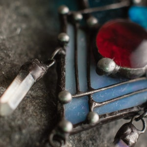 Pendant Blue Grass quartz and moonstone Witchcraft necklaces. Boho necklace with natural stone