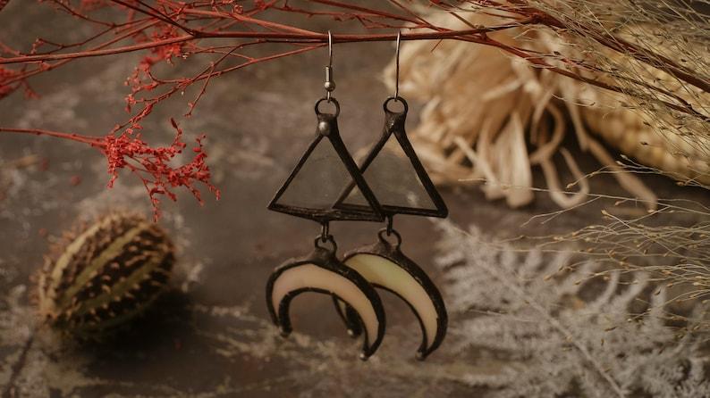 Crescent Moon Earrings with hypoallergenic Earring Hooks Boho Style Stain glass Witchy Earrings Festival juwelry half moon shine