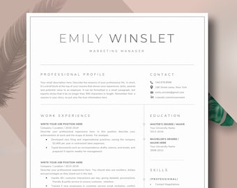 Modern Resume Template | CV Template, Cover Letter | Professional Resume for Word, Mac or Pc 2 page Minimal Resume, Instant Digital Download