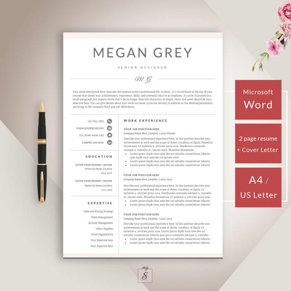 SALE Resume Template CV Template Cover Letter for Word | Etsy