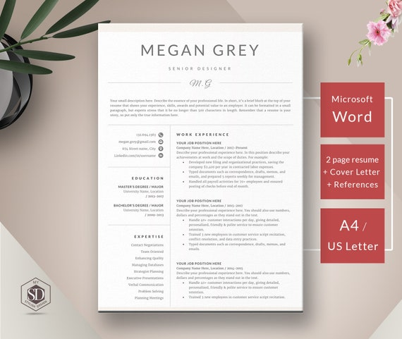 CV Template + Cover Letter for MS Word | Professional Clean Resume Template  4 page CV & References | Instant Download Resume Template