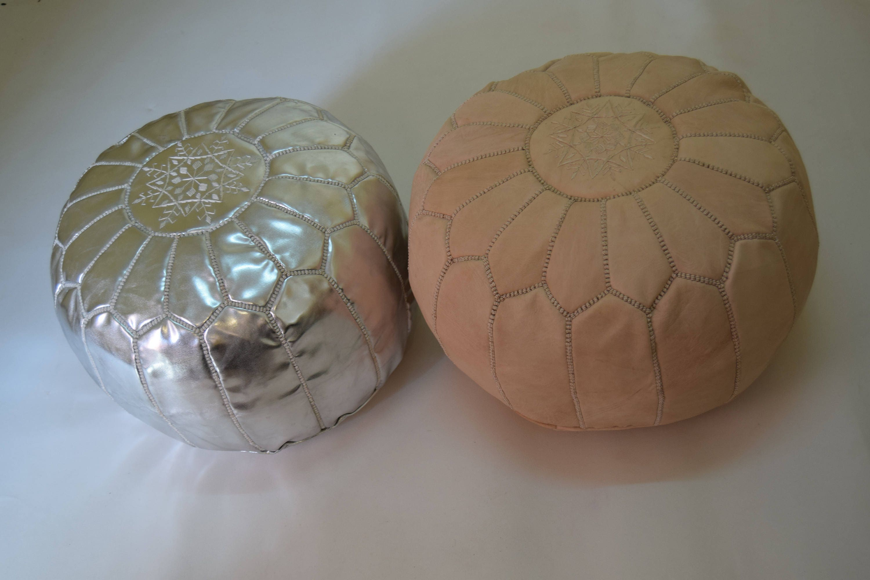 2 Moroccan leather natural & silver poufs ottoman floor round