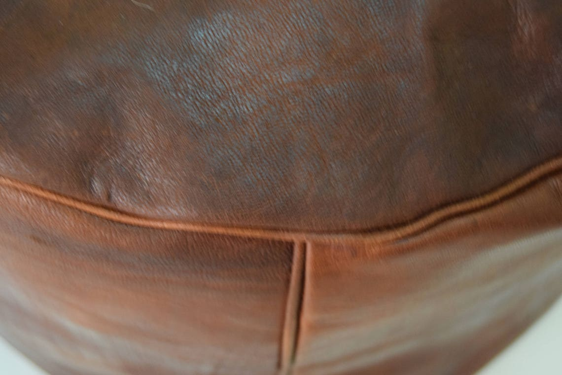 "Moroccan leather dark tan poufs, ottoman floor round pouf floor pouf moroccan pouf handmade pouf size 24 ""in diameter, 14"" in height"