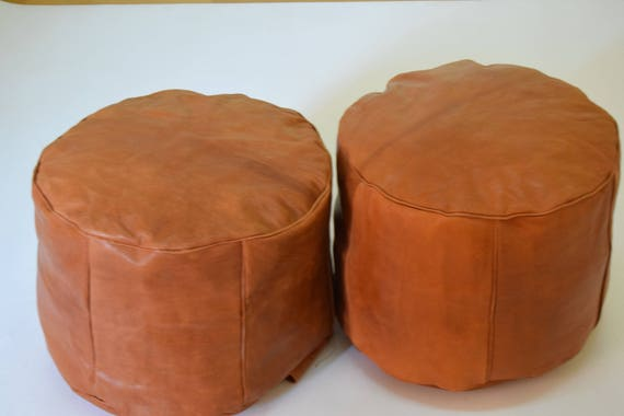release date a797a 1ce5e Set of 2 Moroccan leather tan poufs, ottoman floor round pouf moroccan pouf  ottoman Dimensions : 44 cm height 30 cm diameter