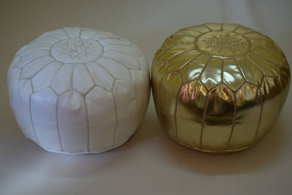 Strange 2 Moroccan Leather White Gold Poufs Ottoman Floor Round Pouf Moroccan Pouf Moroccan Footstool Home Decor Moroccan Products Special Gidt Theyellowbook Wood Chair Design Ideas Theyellowbookinfo