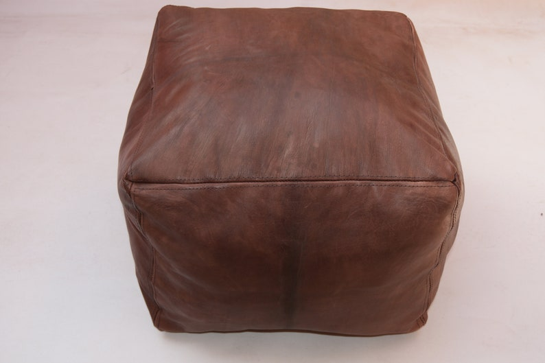Moroccan leather square brown poufs  ottoman floor pouf size W23 inchH14inch floor pouf moroccan decor cover pouf