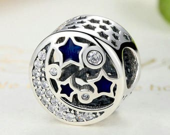 04869b27b Moon Star Bright Night Sky enamel and CZ Fit Original Bracelet 100% 925  Sterling Silver fit for Authentic pandora and european bracelets