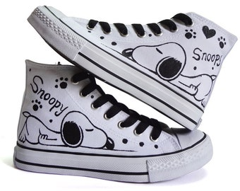 42e4266c5e Shoes SNOOPY high model Hand-Painted Canvas Shoes Converse style Sneakers  Women Handpainted Painted Shoes Unique hand painted canvas shoes