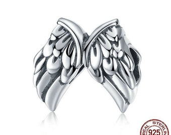 75f3158a6 Vintage Angel Wings Feathers Beads Charms fit Women Bracelets 100%  Authentic 925 Sterling Silver Charms Fits European Pandora Charm Bracelet