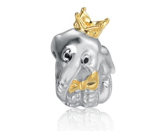 25a2266d4 Golden Crown Lovely elephant Charms Beads charms 100% 925 Sterling Silver  fit for Authentic pandora Charms and european bracelets