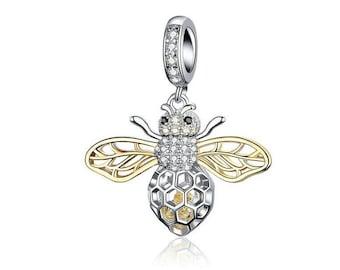 3e735a22a Clear Zircon Bee Charms Insect Pendant fit Original Bracelets 925 Sterling  Silver Charm Fits European Pandora Charm Bracelet Girlfriend Gift
