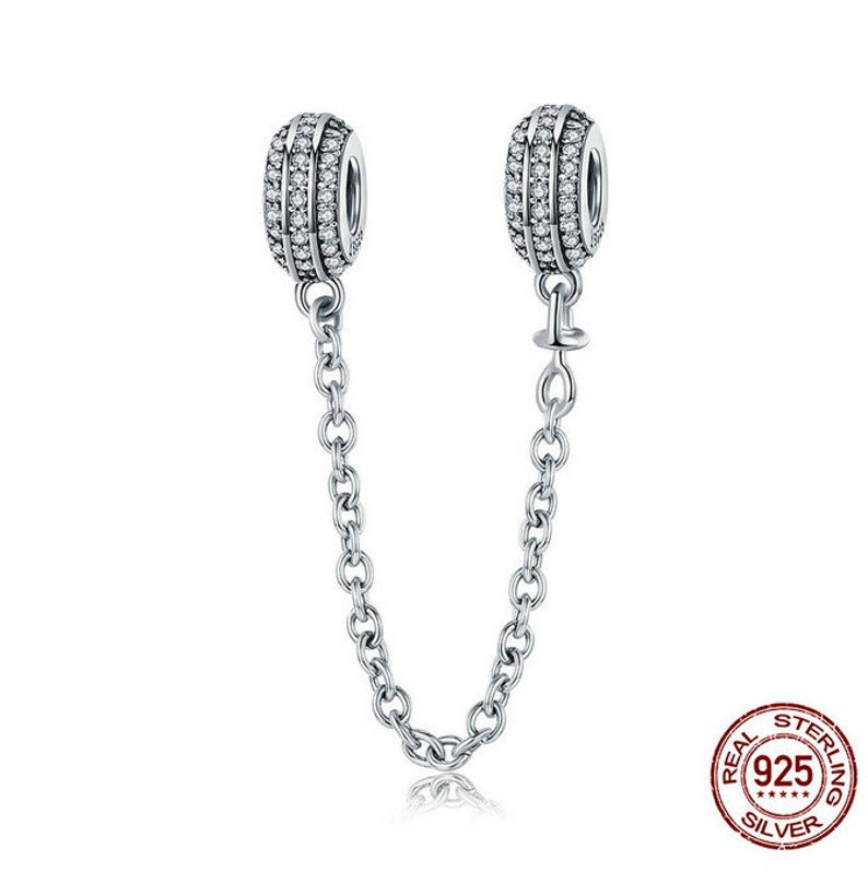 13a6a1a8d73d8 Dazzling Round Stone Charms security chain bead charm 100% 925 Sterling  Silver fit for Authentic pandora Charms and european bracelets