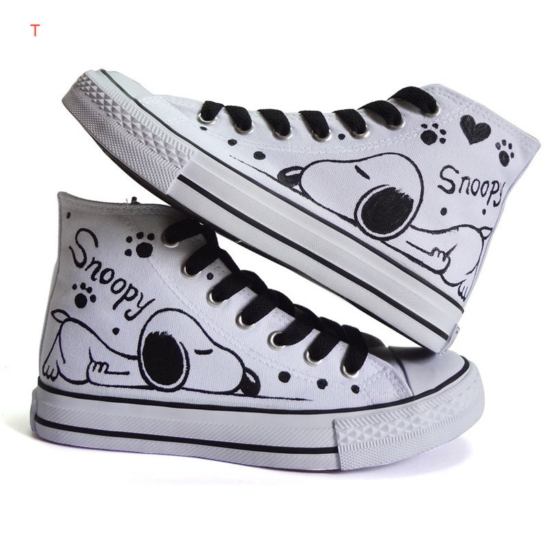 Shoes SNOOPY high model Hand-Painted Canvas Shoes Converse  ec87689ad