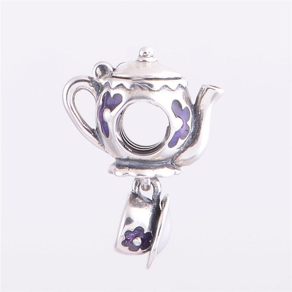 Sterling Silver Little Tea Pot Kettle Tea Time Bead for European Charm Bracelet