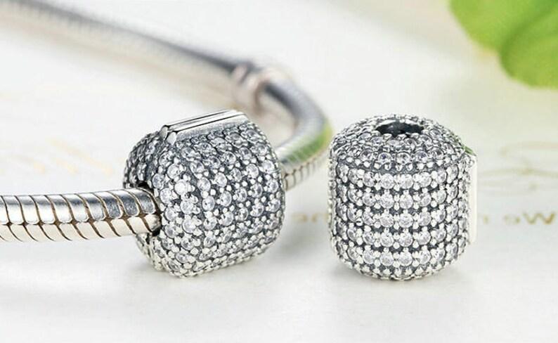 7d3a77a51 Glamorous Pave Barrel Clip Charm Beads Fit European & Pandora | Etsy
