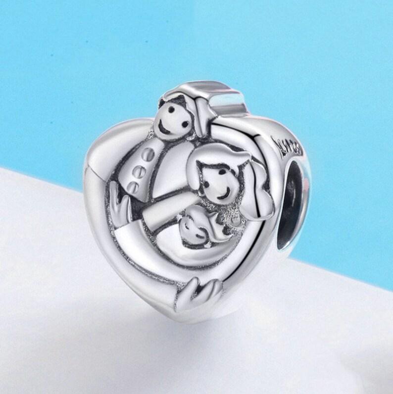 78a84c72a Sweet Family Forever Heart Shape Charm Beads Bracelet Bangles | Etsy