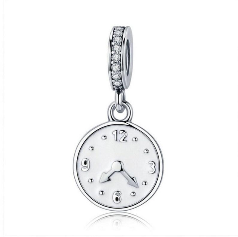 0a98f99f8ba Clock Happy Time Engrave Pendant fit Women Bracelet Jewelry 925 Sterling  Silver Fit Bracelet European & Pandora bracelet Charm