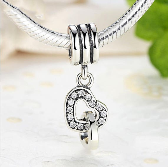 4729fbccc Interlocking Love Heart Charm With Clear CZ beads charms Authentic 925  Sterling Silver Charms Fits European Pandora Charm Bracelet